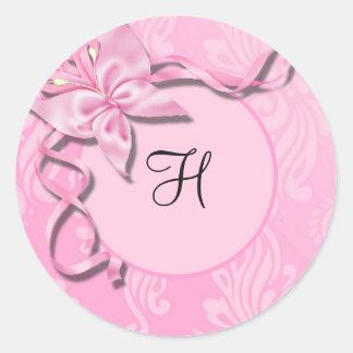 Selo cor-de-rosa do casamento da borboleta da fita adesivo