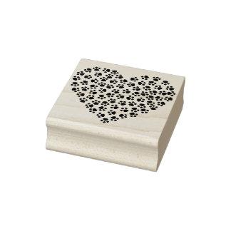 Selo da arte da silhueta do coração do impressão carimbo de borracha