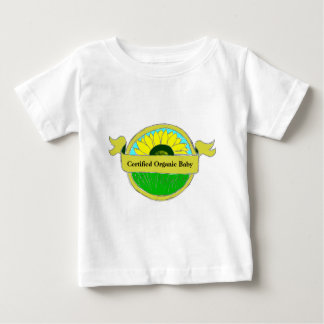 """""""Selo do bebê orgânico certificado"""" em camisas"""