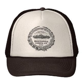 Selo do vintage do chapéu do camionista de Boston Boné