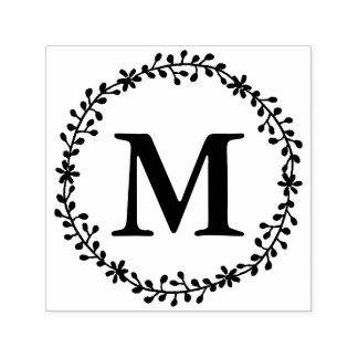 Selo floral do monograma da grinalda carimbo auto entintado