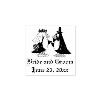 Selo legal do casamento dos noivos do pinguim carimbo de borracha