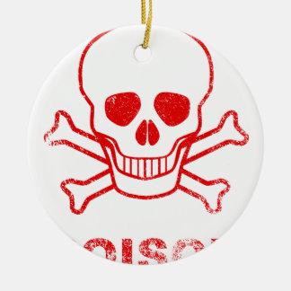 Selo vermelho da tinta do veneno ornamento de cerâmica redondo