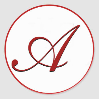 Selo vermelho do envelope com monograma adesivo redondo