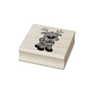 Selos de madeira da arte/bebê bonito Rudolph Carimbo De Borracha