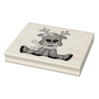 Selos de madeira da arte/bebê Rudolph Carimbo De Borracha