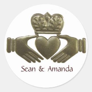 Selos do casamento do ouro de Claddagh do irlandês Adesivo