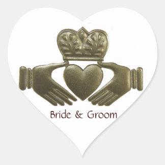 Selos do casamento do ouro do coração de Claddagh Adesivo Coração