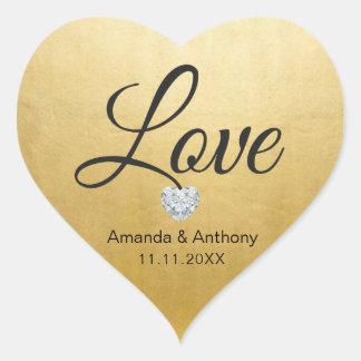 Selos elegantes do casamento da folha de ouro do adesivo coração