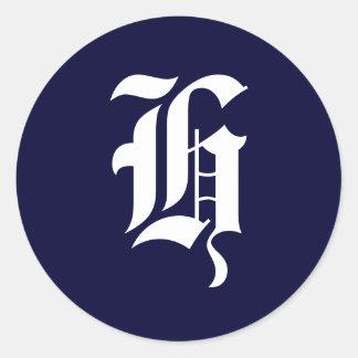 """Selos """"H """" da inicial do monograma dos azuis Adesivo"""
