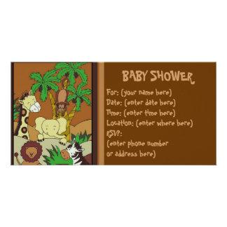 Selva do bebê 10 chás de fraldas cartão com foto