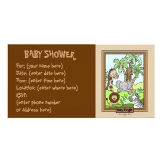 Selva do bebê 20 chás de fraldas cartão com foto