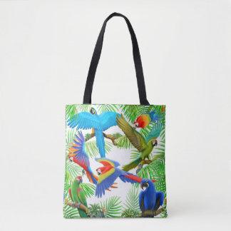 Selva do papagaio do Macaw por todo o lado na Bolsa Tote