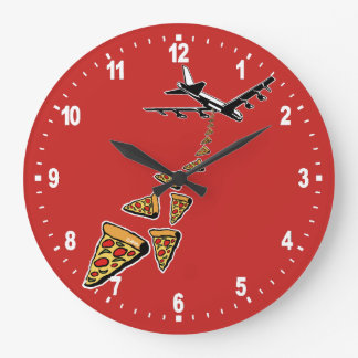 Sem guerra mais pizza relógio de parede