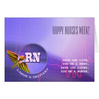 Semana feliz das enfermeiras. Cartões do Caduceus