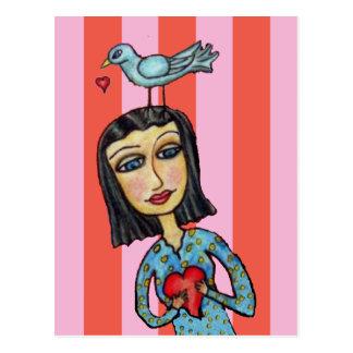 Senhora Bluebird Coração Amor da arte popular da Cartão Postal