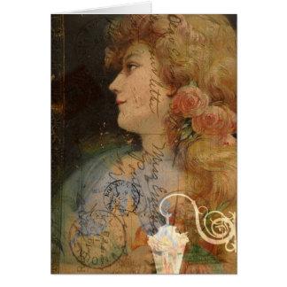 Senhora bonito Vintage Digital Colagem Cartão