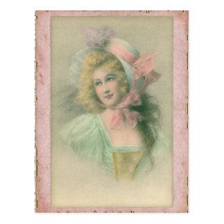 Senhora de Edwardian do vintage na ilustração Cartão Postal