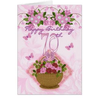 senhora do aniversário do 70, rosas e flores cartão comemorativo