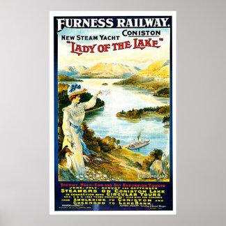 Senhora do anúncio das viagens vintage do navio do poster