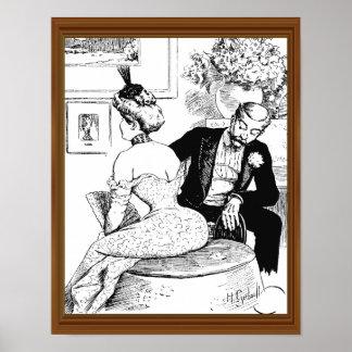 Senhora Espartilho Homem Leering do meio século Poster