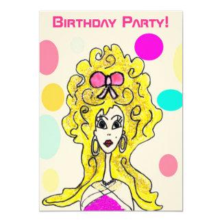 Senhora grande Desenhos animados Convite do cabelo