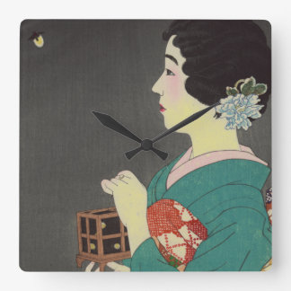 Senhora japonesa com gaiola do vaga-lume relógio para parede