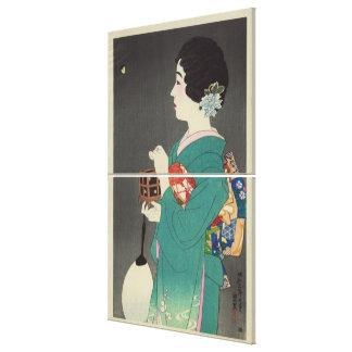 Senhora japonesa Holding Gaiola da imagem da arte  Impressão Em Canvas