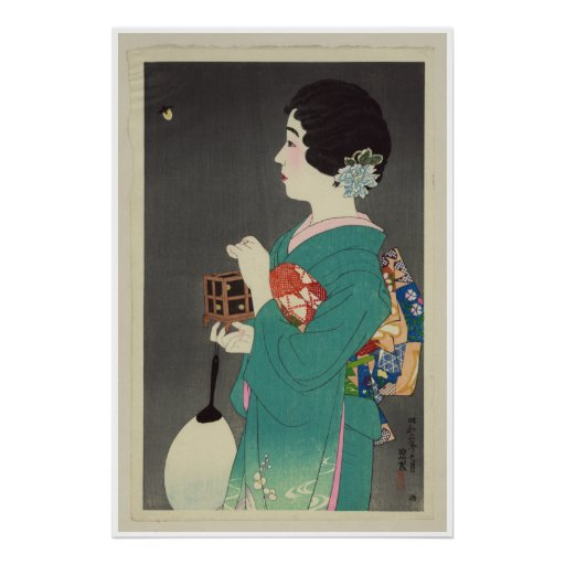 Senhora japonesa Holding Gaiola dos vaga-lume - 19 Posteres