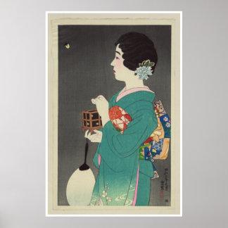 Senhora japonesa Holding Gaiola dos vaga-lume - 19 Poster