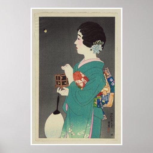 Senhora japonesa Holding Gaiola dos vaga-lume - 19 Impressão