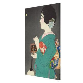 Senhora japonesa que guardara a gaiola do vaga-lum impressão em tela canvas