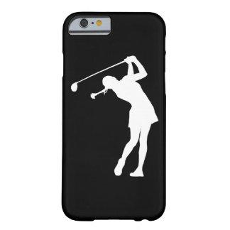 senhora Jogador de golfe Silhueta Branco do caso Capa Barely There Para iPhone 6