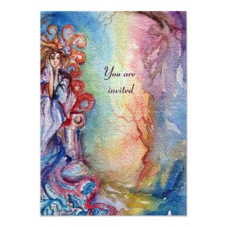 SENHORA LAGO, rosa azul brilhante vibrante Convite Personalizados