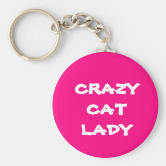 Senhora louca cor-de-rosa Chaveiro do gato