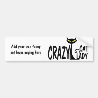 Senhora louca do gato adesivo para carro
