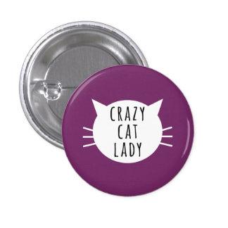 Senhora louca Engraçado Botão do gato Bóton Redondo 2.54cm