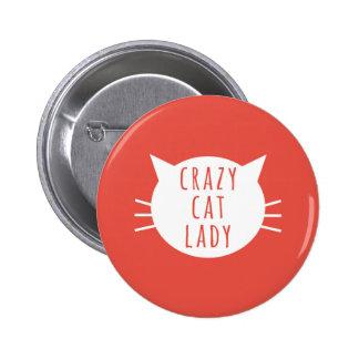 Senhora louca Engraçado Botão Vermelho do gato Bóton Redondo 5.08cm