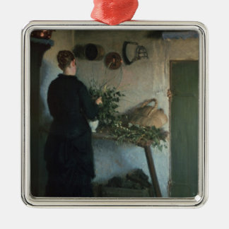 Senhora na cozinha ornamento quadrado cor prata