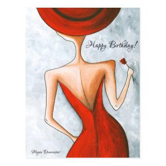 Senhora no cartão vermelho do feliz aniversario cartões postais