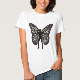 Senhora preta Tshirt da borboleta