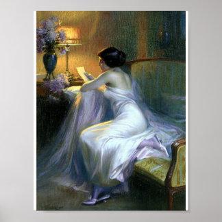 Senhora que lê umas belas artes da antiguidade da  poster