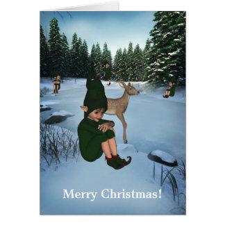 Senhorita Cartão de Chris do duende da neve do