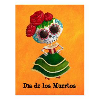 Senhorita morte de Diâmetro de Muertos Mexicano Cartão Postal