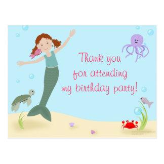 Senhorita Sereia Partido Agradecimento Você Cartão Postal