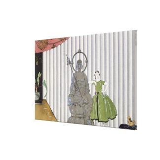 Senhorita Spinelly Chez Elle, 1920 (pri do pochoir Impressão De Canvas Envolvidas