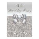 Sequins, arco & diamante da prata do partido de convite personalizado