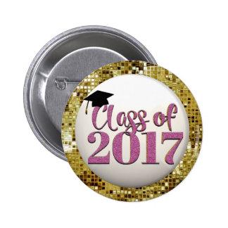 Sequins do ouro, classe cor-de-rosa do botão 2017 bóton redondo 5.08cm