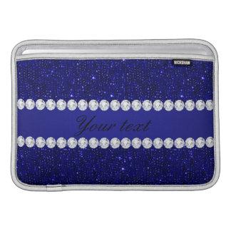 Sequins elegantes e diamantes do marinho bolsa de MacBook