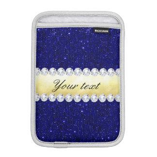 Sequins personalizados do marinho, ouro, diamantes luvas para iPad mini